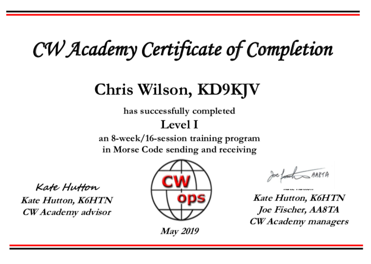 The graduation certificate from CW Academy (Level 1)